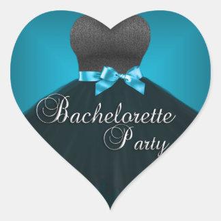 Sticker Heart Bachelorette Party Teal blue Dress