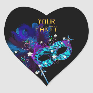 Sticker Heart MASK Blue Gold Party