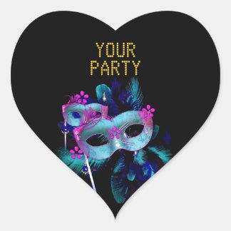 Sticker Heart MASK Teal Blue Gold