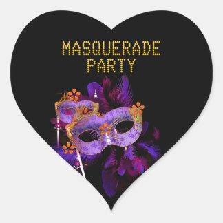 Sticker Heart MASQUERADE Purple Gold