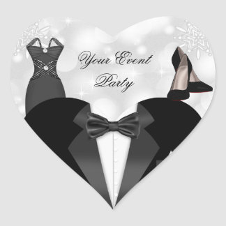 Sticker Heart Silver White High Heel Shoes