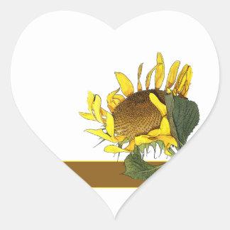 Sticker Heart Sunflower