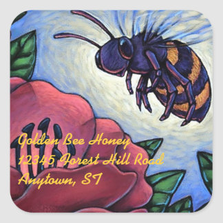 Sticker Honey Bee Visits Flowers Beekeeper Product