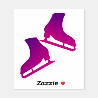 Sticker ice skates pair figure skating purple pink