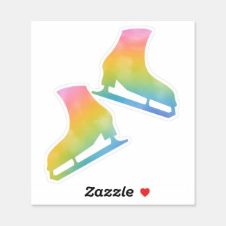 Sticker ice skates pair figure skating rainbow
