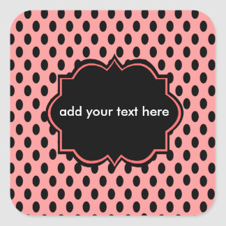 sticker lable pink and black polka dotted