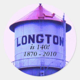Sticker: Longton is 140!, 1870 - 2010 Classic Round Sticker