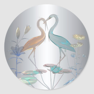 Sticker Love Birds Silver
