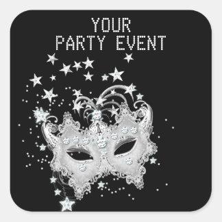 Sticker MASK White Silver Black Party