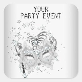 Sticker MASK White Silver Party