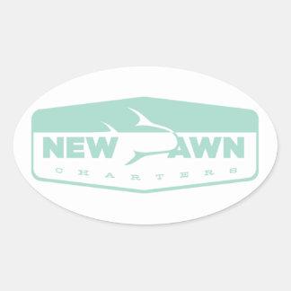 sticker, new dawn charters, fishing oval sticker