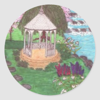 Sticker-Peaceful Garden Settings Classic Round Sticker