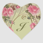 Sticker Personalized Antique Rose Hearts Monogram