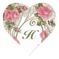 Sticker Personalized Antique Rose Hearts Monogram