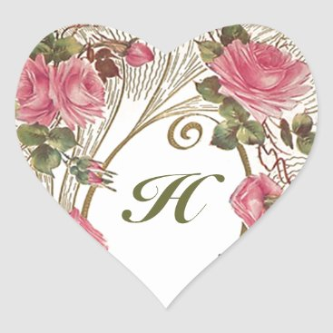 Valentines Themed Sticker Personalized Antique Rose Hearts Monogram