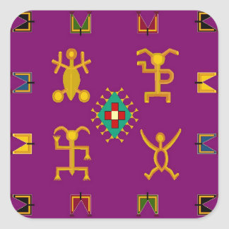 Sticker purple folkart egyptian plum style native