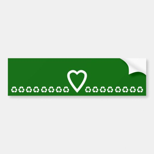 Sticker Recycle Heart Love Car Bumper Sticker