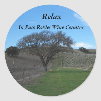Sticker: Relax in Paso Robles Wine Country Classic Round Sticker