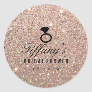Sticker - Ring Bridal Shower Glitter Rose Gold