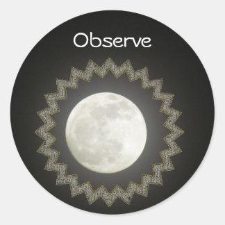 Sticker (rnd) - Moon / Observe
