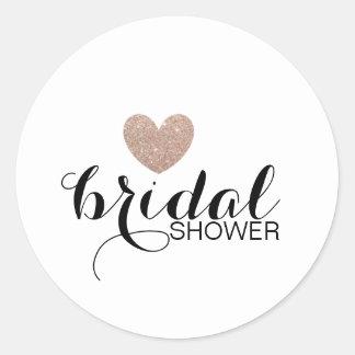 Sticker - Rose Gold Glit Heart Fab Bridal Shower