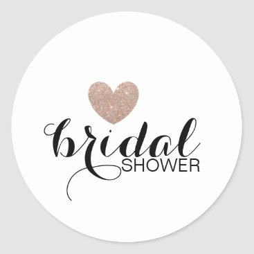 Valentines Themed Sticker - Rose Gold Glit Heart Fab Bridal Shower
