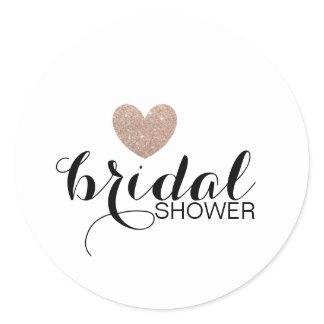 Sticker- Rose Gold Glitter Heart Fab Bridal Shower Classic Round Sticker