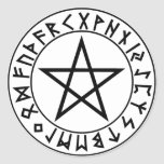 sticker round Rune Pentacle
