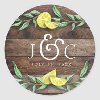 STICKER | Rustic Wood Lemon Watercolor Wedding