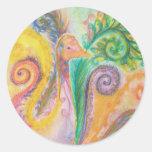 Sticker Sheet with Colourful Swirly Bird Design