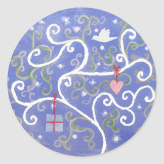 Sticker sheet with Dove and Swirly Tree Design