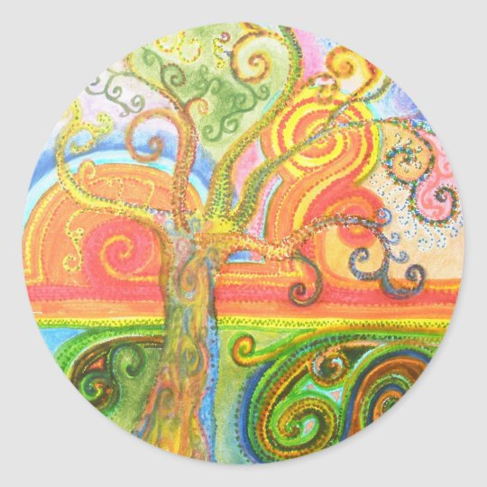 Sticker Sheet with Psychedelic Colourful Tree