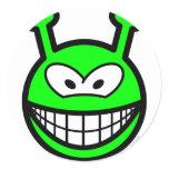 Green alien smile   sticker_sheets