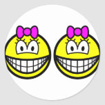 Identical twins smile Girls  sticker_sheets