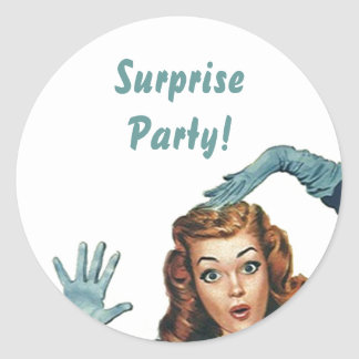 Sticker Shh... Retro Lady Fun Surprise Party Seals
