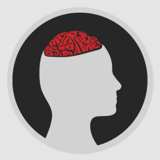 Sticker | Silhouetted head and brain