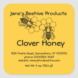 Sticker (sq)- Honey Business (bee on comb)