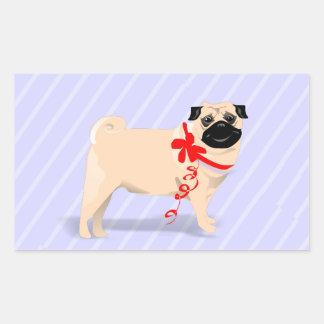 Sticker Square - Pug Dog on Light Blue Background