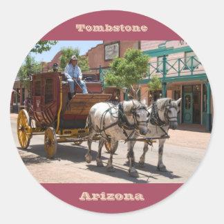 Sticker: Stagecoach Ride #3 (Round Red) Classic Round Sticker