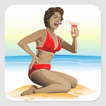 Beach Themed Sticker summer pin-up with cocktail