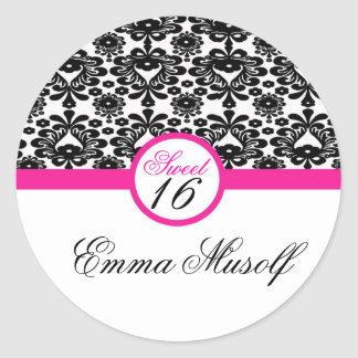 sticker sweet sixteen party  black pink  chic