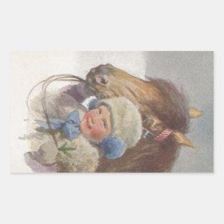 Sticker Sweet Vintage Nostalgic Child & Pony Art