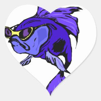 Sticker Too Cool Purple Blue Betta Fish Pisces