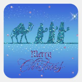 Sticker - Tres Reyes Magos - Navidad Pegatina Cuadrada