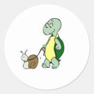 Sticker-Turtle walking a Snail! Classic Round Sticker