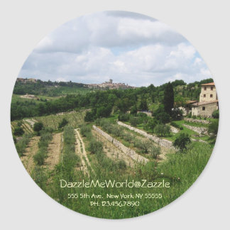 Sticker - Tuscan Vineyard and Hill Town