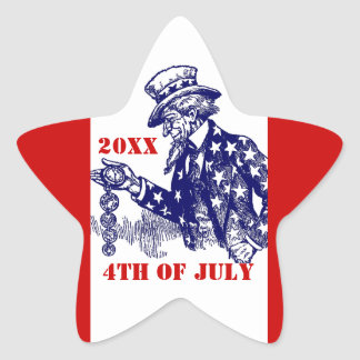 Sticker Uncle Sam Star Red White Blue Personalize
