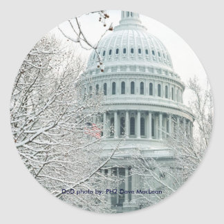 Sticker / United States Capitol in Snow