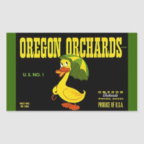 Sticker Vintage Advertising Oregon Orchards Duck