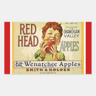 Sticker Vintage Advertising Red Head Apples Apple